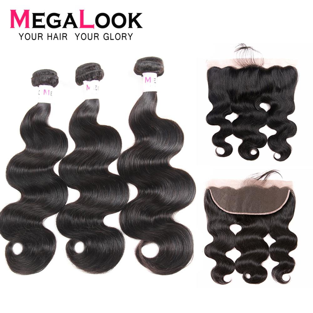 Megalook Body Wave Lace Frontal With Hair Bundles Brazilian 100% Remy Human Hair Bundles With Lace Front Closure