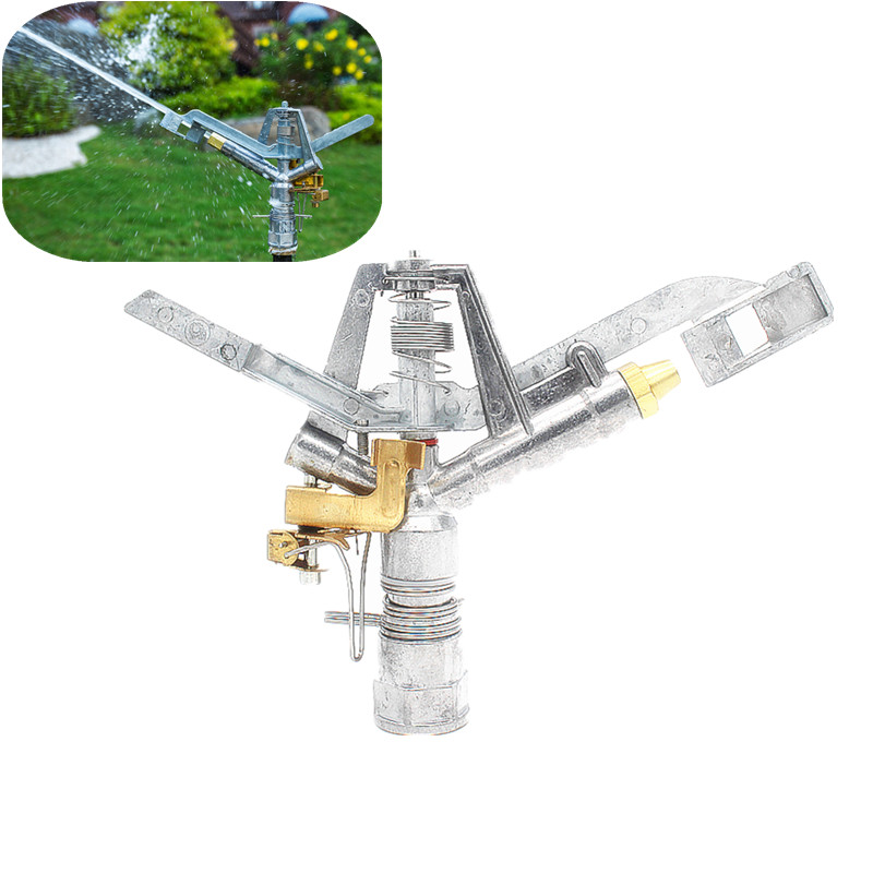 """1"""" Zinc Alloy Rotary Impact Sprinkler Switchable Angle Rocker Arm Metal Nozzle Watering Sprinkler For Garden Lawn Sprayer"""