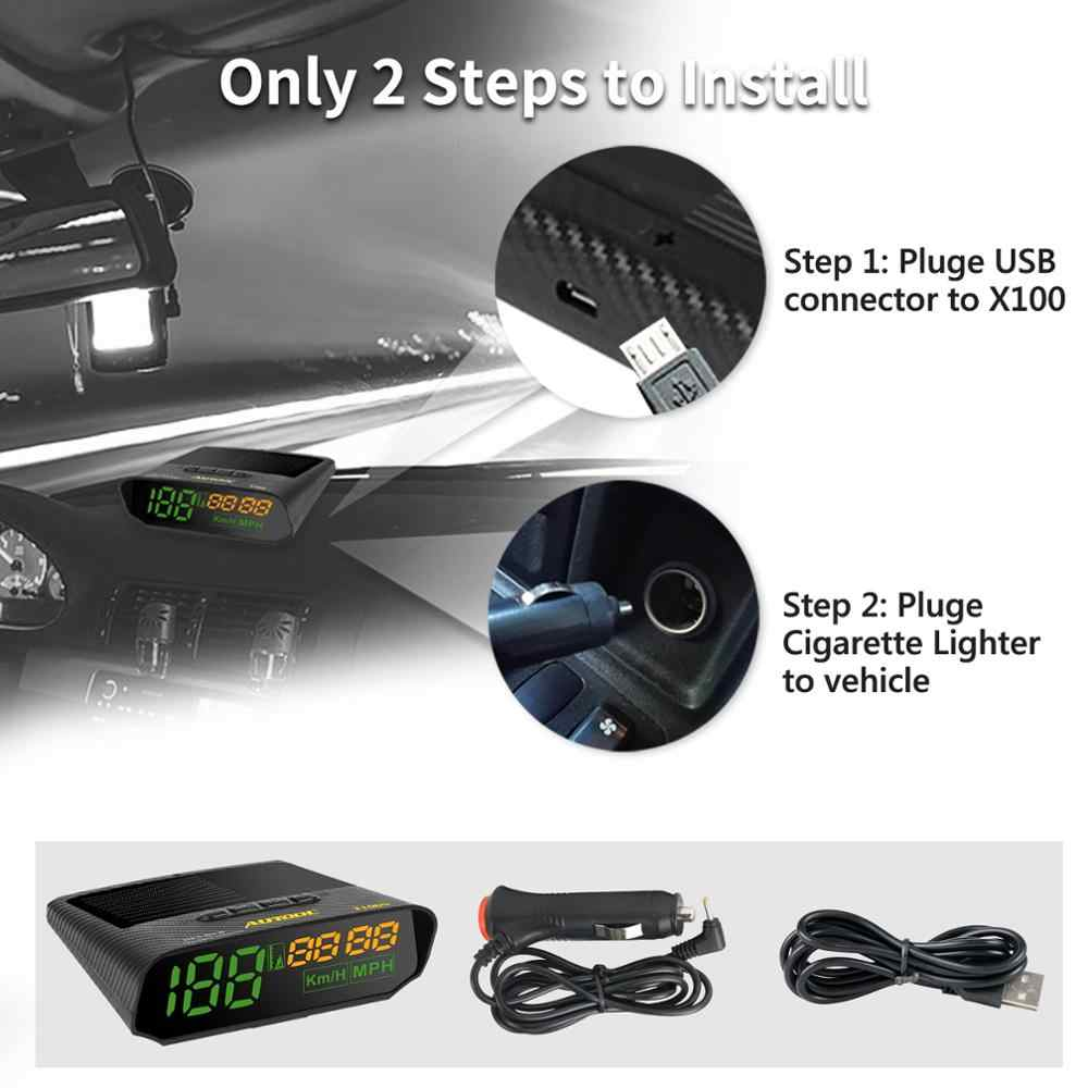X100/X100S 자동차 GPS 속도계 태양열 충전 HUD 자동 헤드 디스플레이 차량 오토바이 보트 시간 고도 속도 측정기