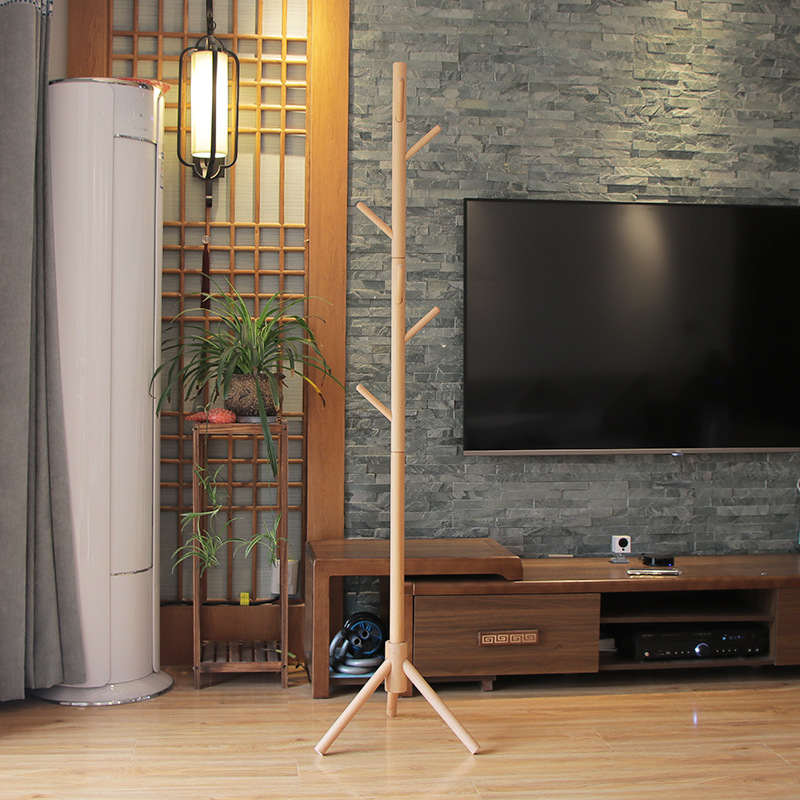 Premium Wooden Coat Rack Free Standing With 8 Hooks Wood Tree Coat Rack Stand For Coats Hats Scarves Clothes Handbags