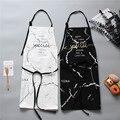 INS скандинавский хлопковый передник черно-белый мраморный фартук для приготовления пищи для мужчин и женщин с большим карманом нагрудник к...