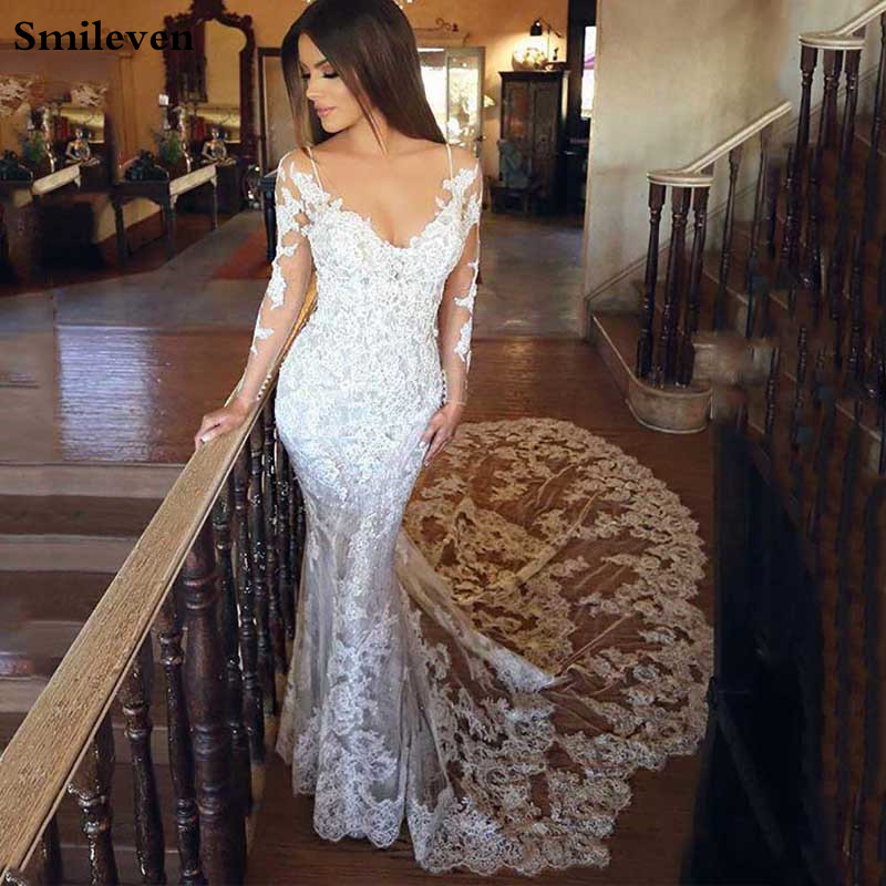 Smileven Lace Mermaid Wedding Dresses 2020 Sexy V Neck Vestido De Novia New Style Long Sleeve Boho Bride Dresses