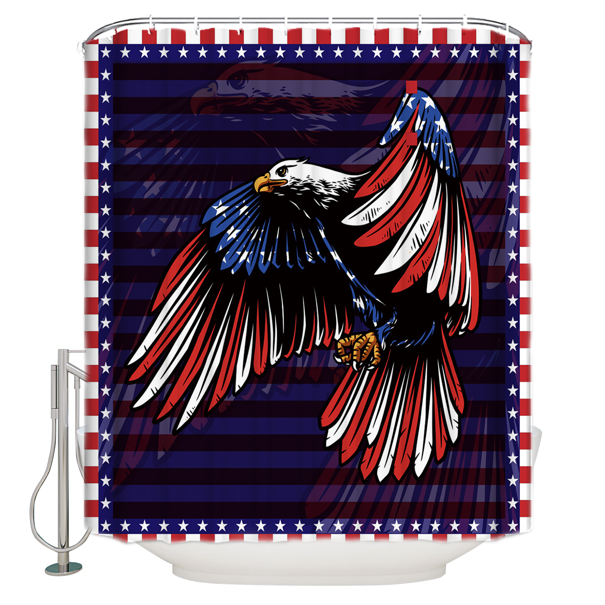 USA Eagle Flag Shower Curtain Waterproof Polyester with 12 Hooks Bathroom Decor