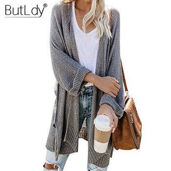 Kieszeń z dekoltem w kształcie litery v szary długie swetry rozpinane kobiet luźne stałe Batwing rękaw sweter z długim rękawem jesień zima nowy styl 2019 sweter