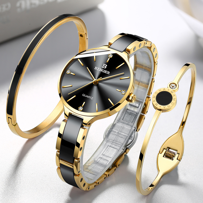 BINGER Women's Quartz Watch,BINGER Women's Quartz Watches,Ceramic Ladies Waterproof Watches,Ceramic Ladies Waterproof Watch,