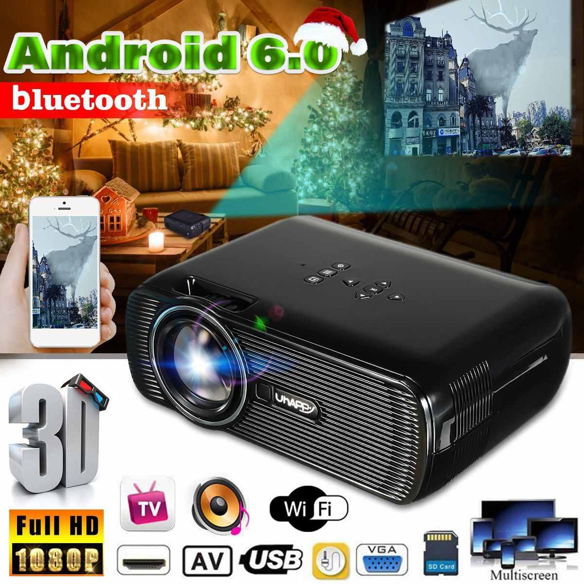 7000 Lumens Wifi Mini Projector HD 1080P Android Home Theatre Cinema Wireless 3D HDMI