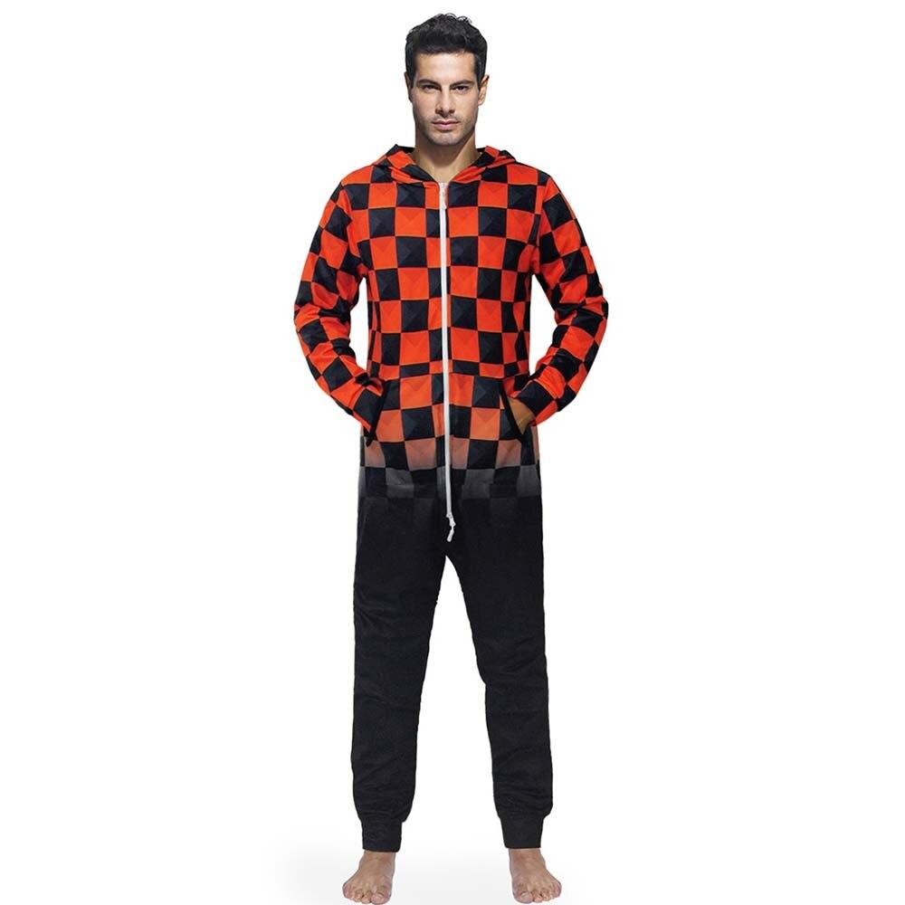 Red Black Grids Men's Jumpsuit Fleece Nightwear Pajamas hoodie zip Onesies Sleep Lounge Adult Sleepwear One Piece Pajamas Male