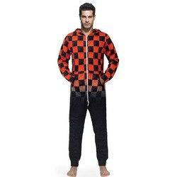 Red Black Grids mono de hombre de lana Pijamas con capucha zip Onesies sueño salón adulto pijamas de una pieza hombre