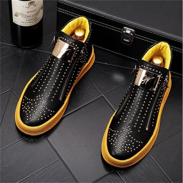 Zapatillas de deporte de diseñador de lujo para Hombre, zapatos informales estilo Punk, Hip Hop, botas altas planas de cuero con cremallera, botines 5