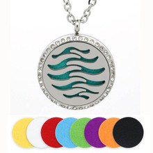 BOFEE Aromatherapy Necklace Pendant Magnet Waves Stainless Steel Essential Oil Diffuser Locket Crystal Fashion Jewelry Gift 30MM цена и фото