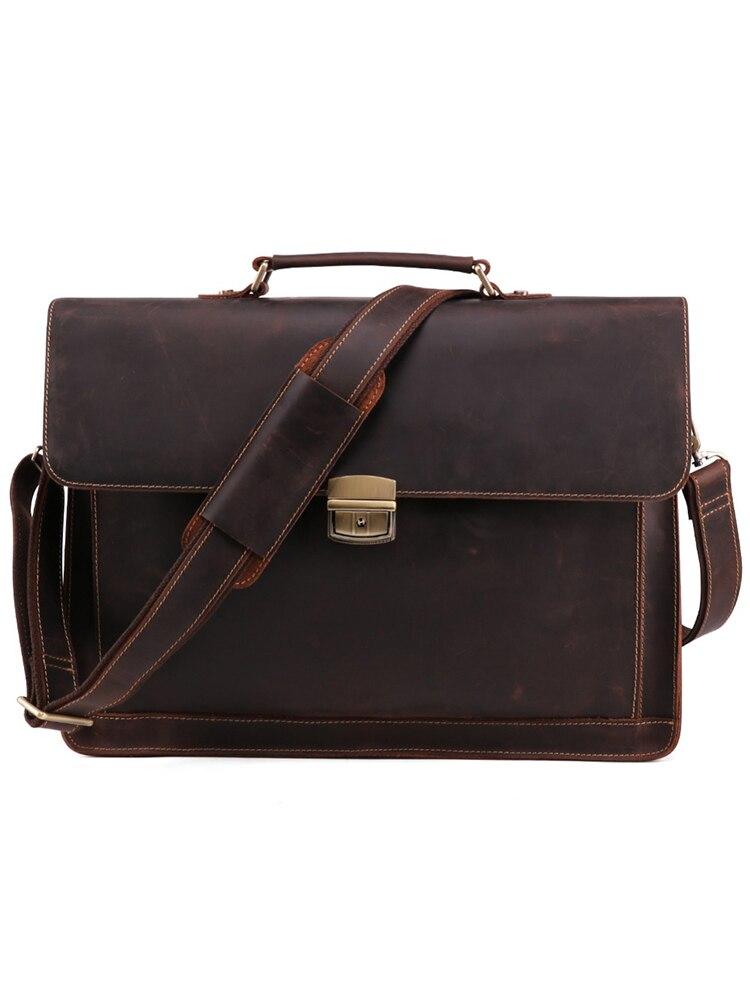 JOYIR Laptop Handbag Messenger-Shoulder-Bag Men's Briefcase Crazy-Horse Vintage Genuine-Leather
