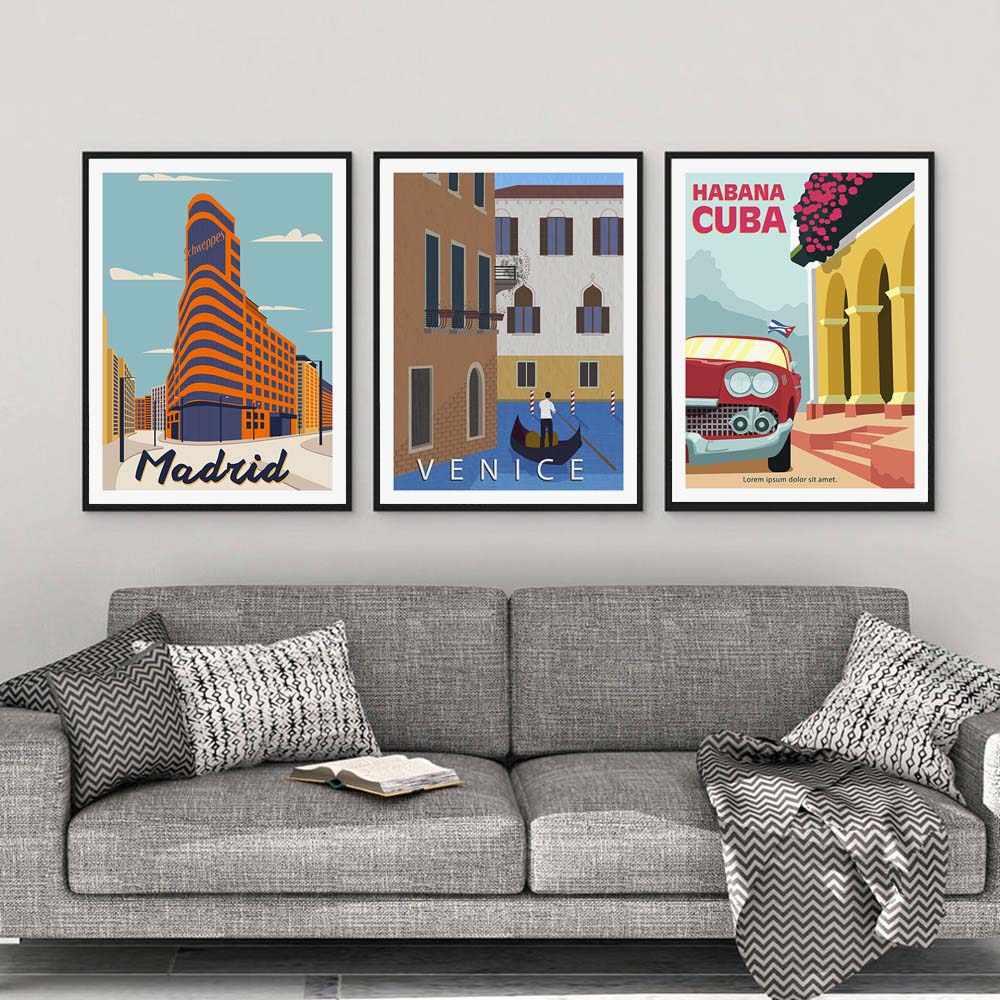 San Francisco Seville London Bản Mẫu Thành Phố Phong Cảnh Áp Phích Treo Tường Cổ Điển Tranh Canvas Nghệ Bắc Âu Hình In Trang Trí Phòng Khách