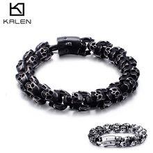 KALEN Large Stainless Steel Shiny Skull Charm Bracelets Mens Bracelet Boy Punk Skeleton Fashion Jewelry Best Gift For Big Men