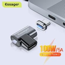 Essager adaptador magnético USB tipo C a tipo C de 100W, Conector de imán hembra y macho para Macbook Pro Air, convertidor de teléfono y portátil, USB C