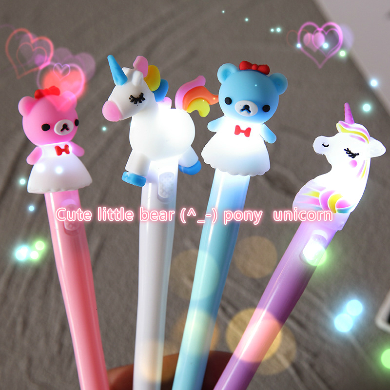 Luminous Pony Unicorn Gel Pen Cute Candy Color Stationery Gifts School Office Supplie