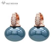 S&Z DESIGN New Fashion Bread Round Big Pearl Dangle Earrings For Women Wedding Jewelry Gift Temperament Cubic Zirconia Eardrop