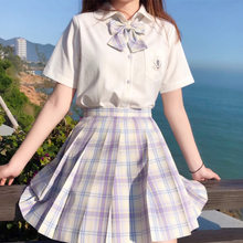 2020 Summer New Lavender Women's Purple Skirt High Waist Plaid Pleated Skirts High School Sweet Girls Casual Mini Skirt With Tie(China)