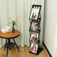 4 Layers Portable Literature Floor Stand Folding A4 Magazines Catalogs Brochure Storage Rack Holder Organizer Home Office