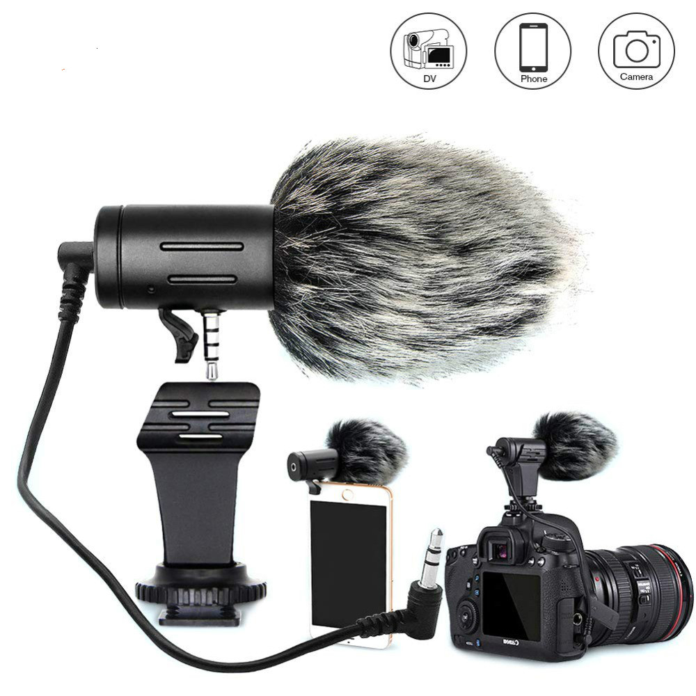 MIC-06 Phone Microphone Mini Portable 3.5mm Condenser Phone Video Camera Interview Mic Microphone With Muff For IPhone Samsung