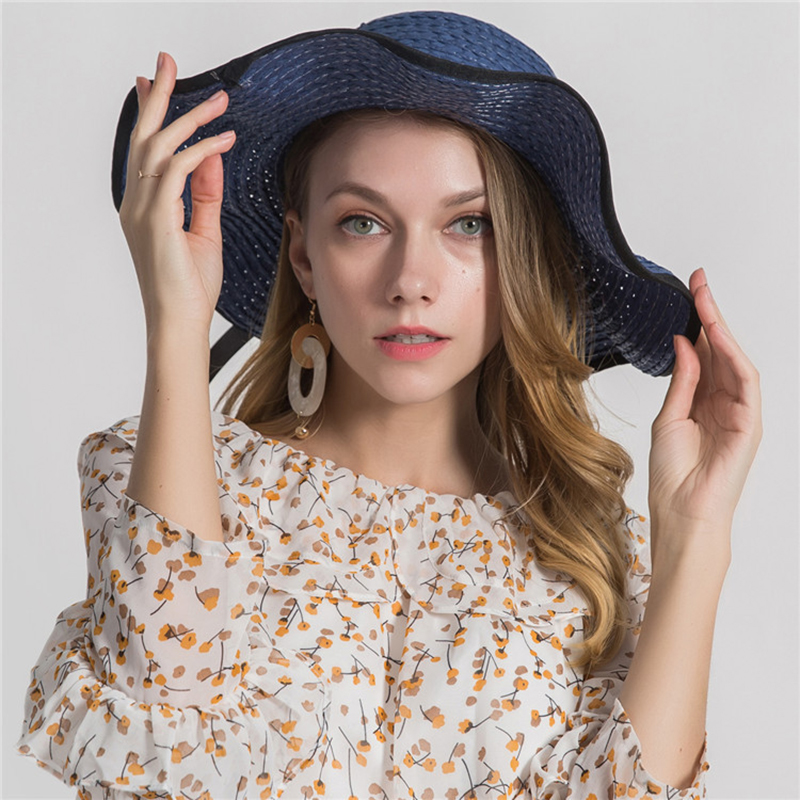 2019 Wide Brim Boater Hat Straw Flat Women Summer Kentucky Derby High end side Sun Beach Cap