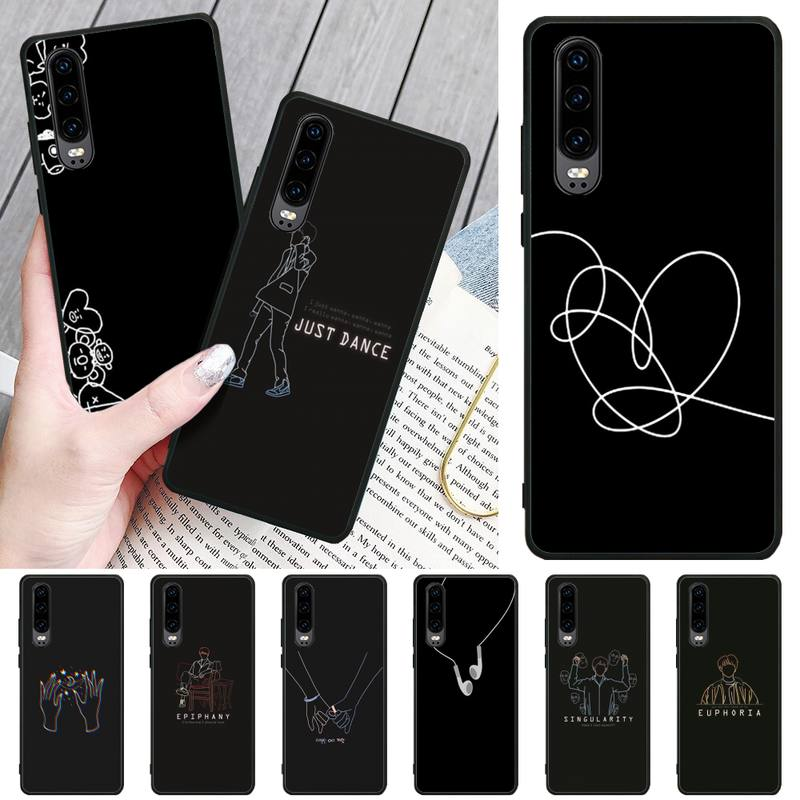 Ivits Black minimalist style DIY Painted Bling <font><b>Phone</b></font> <font><b>Case</b></font> For <font><b>Huawei</b></font> P8 lite 2017 P9 P10 20Pro Lite Pro P30lite <font><b>P</b></font> <font><b>Smart</b></font> <font><b>2019</b></font> image