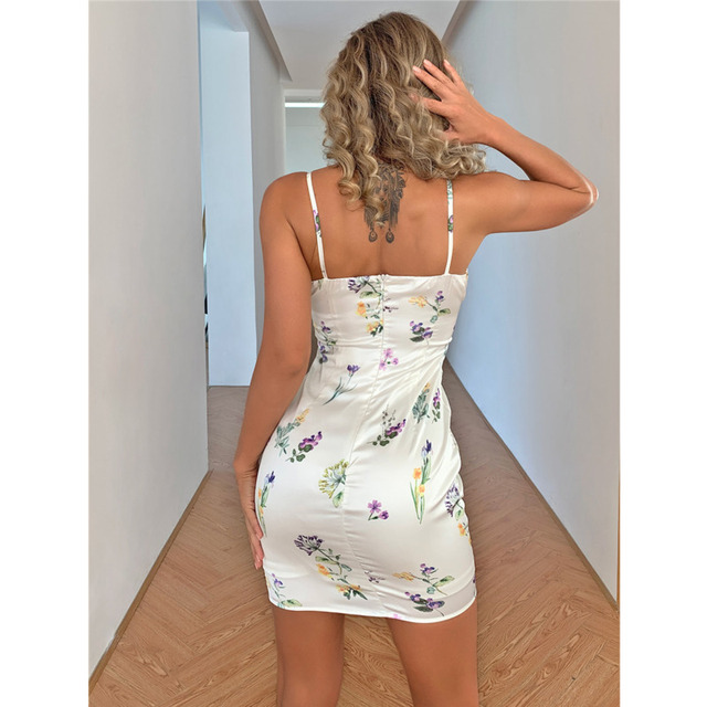 Tobinoone Floral Print Backless Sexy Women Dress 2021 Summer Spaghetti Strap Bodycon Short Dresses Feamle Lace Up Beach Dress 3