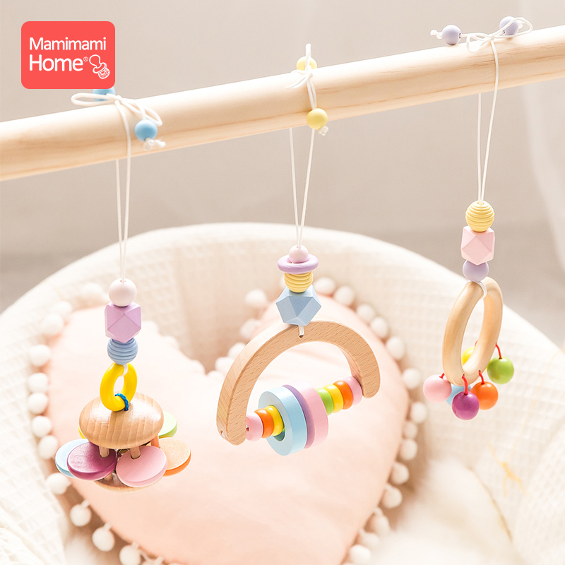 Mamihome Baby Wooden Teether Gym Play Toys Music Rattle Wooden Blank Rodent Pendants Newborn Educational Toys Children'S Goods