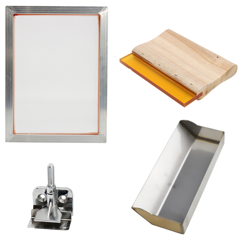 5Pcs/Set Screen Printing Kit Aluminum Frame + Hinge Clamp + Emulsion Scoop Coater + Squeegee Screen Printing Tool Parts