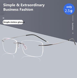 52-17 Square Spectacle Frame Eyeglasses Men Women Titanium Alloy Rimless Computer Optical Female Male Clear Lens Glasses Frame