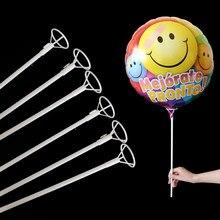 50 pçs/lote 40 centímetros Hastes De PVC para Balões de Foil Balloon Varas Branco Varas Titular com o Copo Partido Acessórios de Decoração