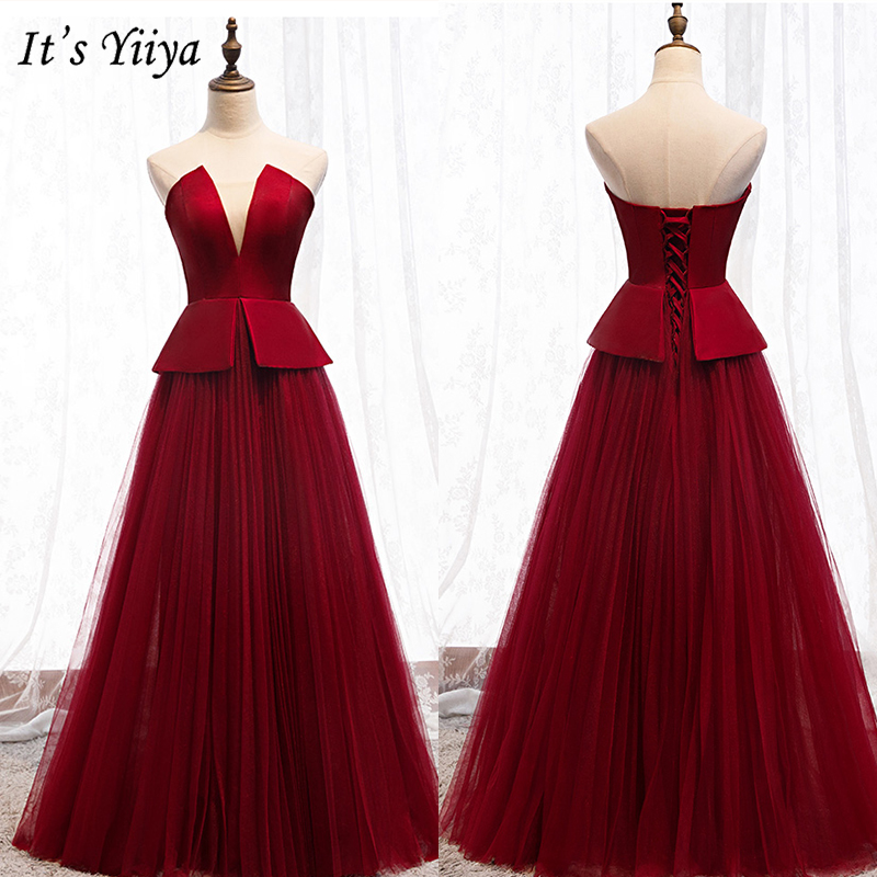 It's Yiiya Evening Dress 2019 Burgundy Strapless A-Line Floor Length Women Party Dresses Elegant Long Robe De Soiree E969
