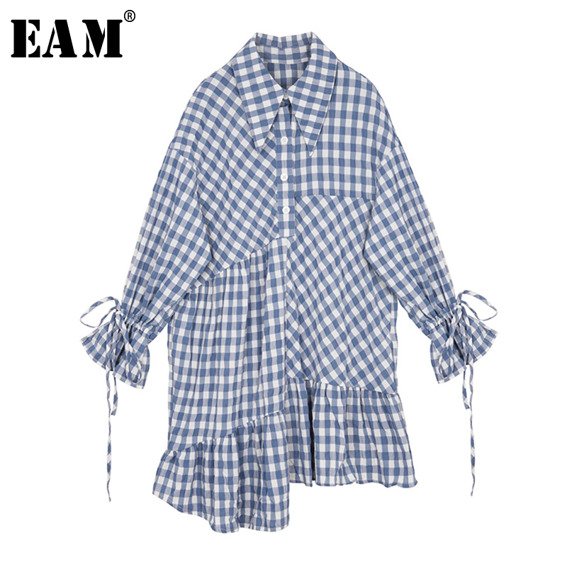 [EAM] Women Blue Plaid Ruffles Big Size Shirt Dress New Lapel Long Sleeve Loose Fit Fashion Tide Spring Autumn 2020 1S350