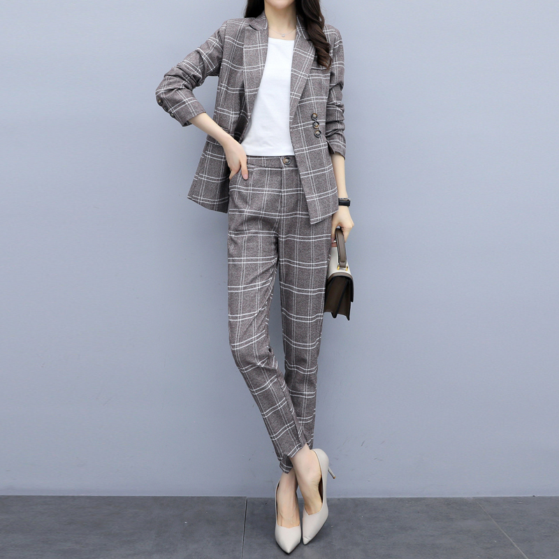Casual Women's Suits Pants Suit Temperament Slim Plaid Full Sleeve Jacket Two-piece Office Slim Trousers High Quality 2019