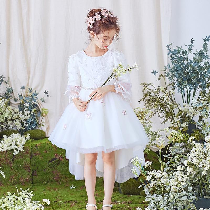 Filles à manches longues queue princesse robe fleur garçons/fleur filles blanc robe de mariée enfants gonflé robe en maille fille Performance