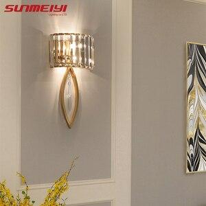 Image 2 - Luxo lâmpadas de parede led para sala estar banheiro corredor escadas loft lâmpada moderna quarto cristal luz parede specchio da parete