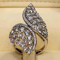 Fashion Twisted Leaf Zircon Ring for Women Silver Color Hollow Design Wedding Engagement Anniversary Ring Jewelry anillos O4T336