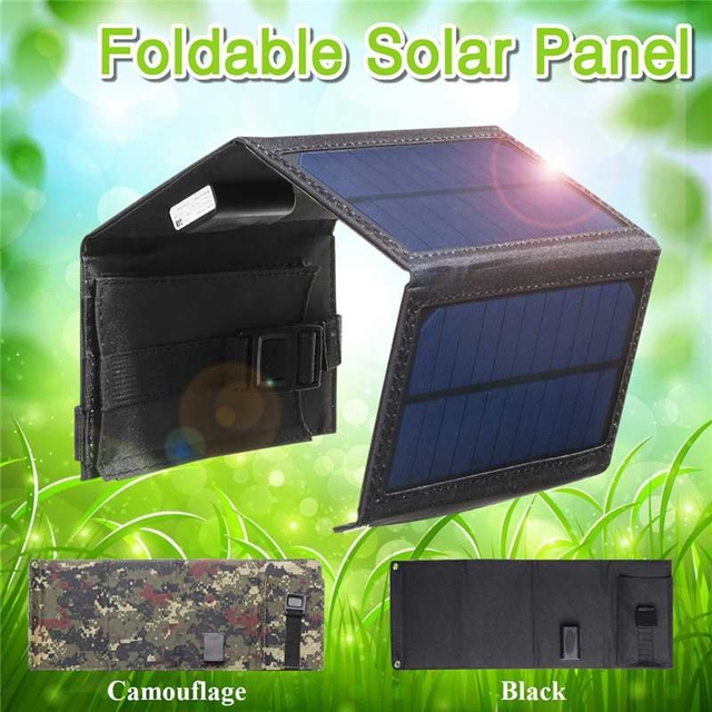 15W 5V 2A Sun Power Usb Foldable Solar Panel Camping Hiking Phone Charger-Black 4
