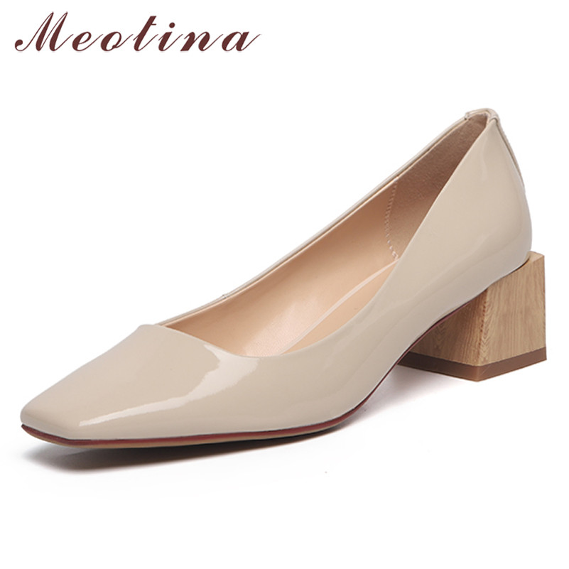 Meotina High Heels Women Pumps Natural Genuine Leather Thick Heels Shoes Cow Patent Leather Square Toe Shoes Ladies Size 33-40