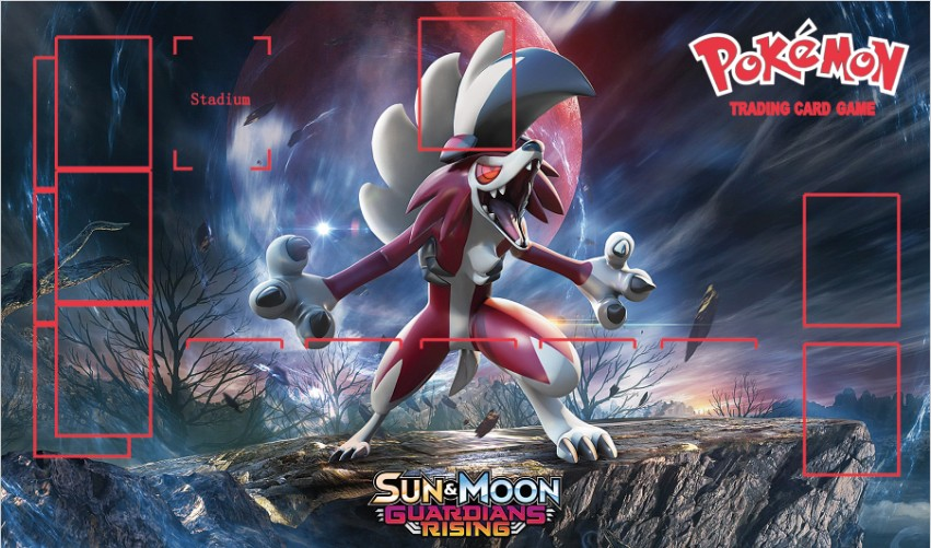 Takara Tomy PTCG Accessories Pokemon Card Game Table Playmat Lycanroc Toys For Children