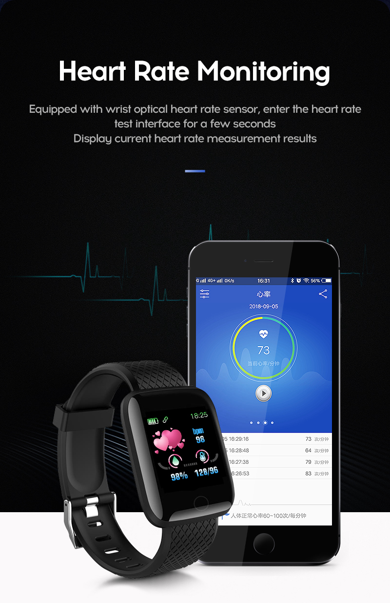Smart Watch 116 Plus Heart Rate Smart Wristband Sports Watches Smart Band Waterproof Smartwatch for Android iOS CLOVER JEWELLERY