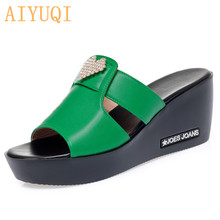 AIYUQI Women's Slippers Platform 2020 New Genuine Leather Women Summer Large Size