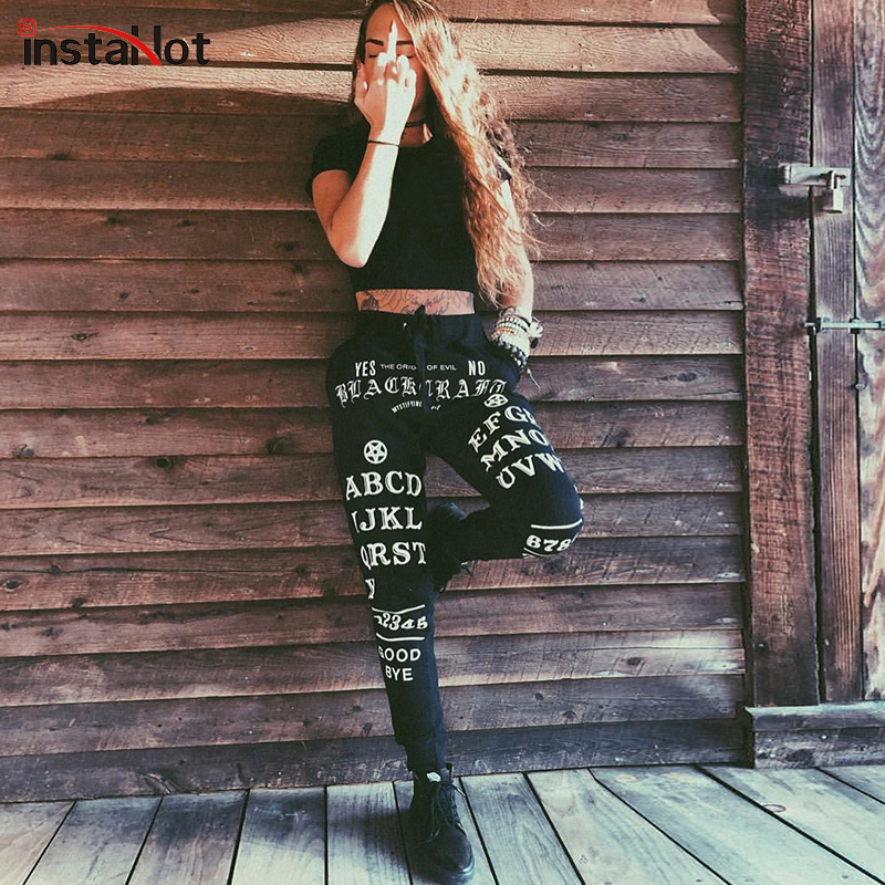 InstaHot Black Gothic Punk Letter Printed Legging Tapered Carrot Pants Elastic Waist Women Cotton Jogger Casual Trousers