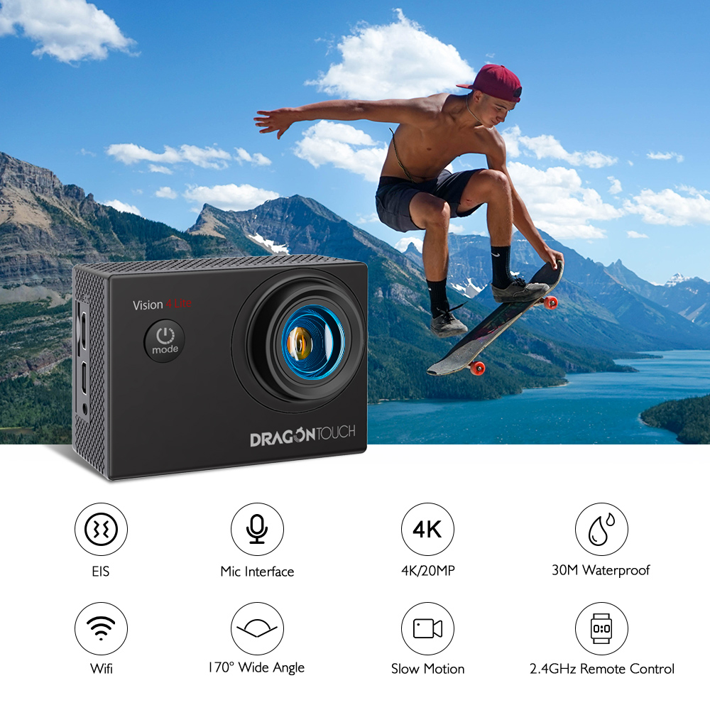 DragonTouch 4K HD Action Camera Vision 4 Lite Underwater Waterproof Action Cam WiFi Remote Control Helmet Sport Camera with Mic
