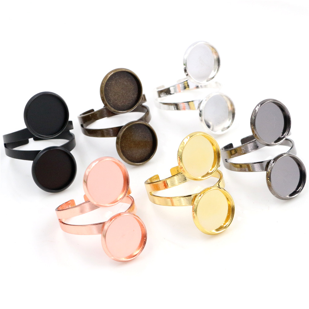 12mm 5pcs/Lot Classic 7 Colors Plated Brass Adjustable Ring Settings Blank/Base,Fit 12mm Glass Cabochons,Buttons;Ring Bezels