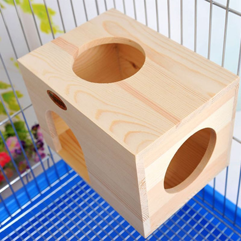 Rectangular Chinchilla Chalet Toy Hamster Small Animal Wooden Toy House Fixed Nest Pet Products 23*16*16cm PXPC