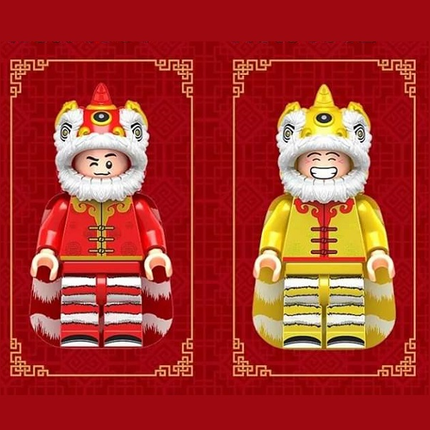 Single Sale Traditional Culture Building Blocks Chinese Dragon Lion Dance New Year Figures Children Collection Toys  J1001 J1002