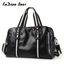 KUDIAN BEAR PU Leather Men Travel Bags Waterproof Casual Black Sold Men's Handbag Travel Accessories Soft Male Bags BIG022 PM45