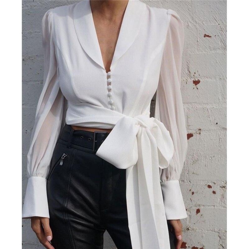 AEL mousseline de soie col claudine chemisier blanc à lacets court Crop hauts à manches longues élégant vêtements pour femmes nouveau automne 2019