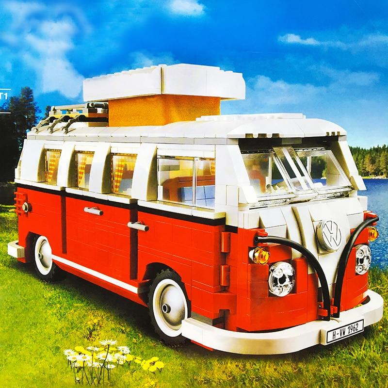1354 pçs criador vw volkswagen t1 camper tijolos van carro blocos de bluding compatível técnica ideias ônibus 10220 diy brinquedos presente natal