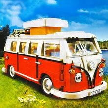 Juego de bloques de construcción modelo Volkswagen T1 Camper para niño, juguete de construcción con ladrillos, furgoneta, coche, Bluding, Compatible con Ideas Technic Bus 1354, regalo de Navidad, 10220 Uds.